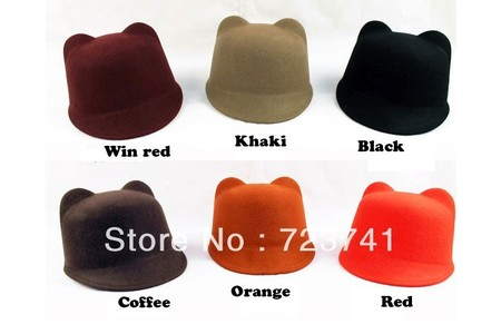 Main 2013 spring women s fashion cat ears equestrian cap devil hat cap small fedoras cashmere hat