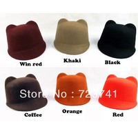 Review 2013 spring women s fashion cat ears equestrian cap devil hat cap small fedoras cashmere hat