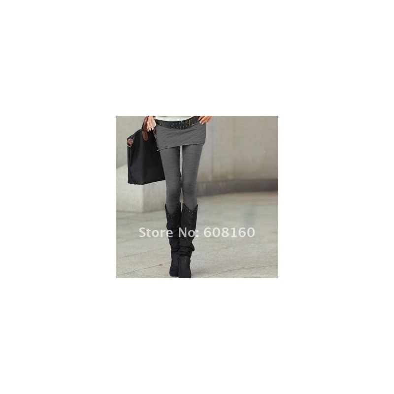 Отзыв на Леггинсы AliExpress Hot Selling Grey Black False Two-piece Legging Pantskirt Women's Fashion Leggings With Mini Skirts Slim Fit