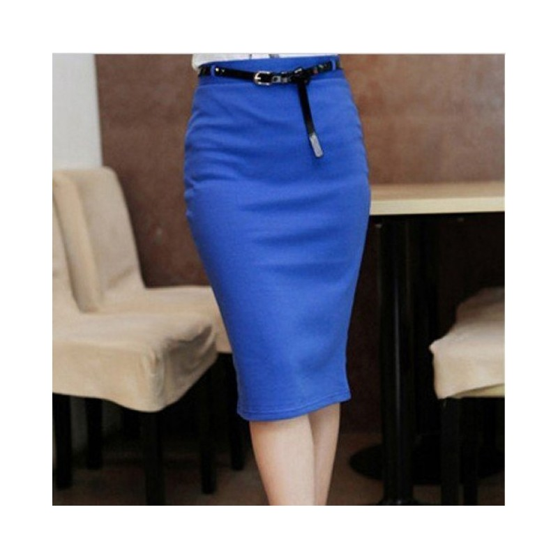 Отзыв на Юбка AliExpress Fashion Womens Candy Color Stretch Slim Fit Skirt With Belt Solid Color mid High Waist Pencil Knee-Length Short Dress WF-3508