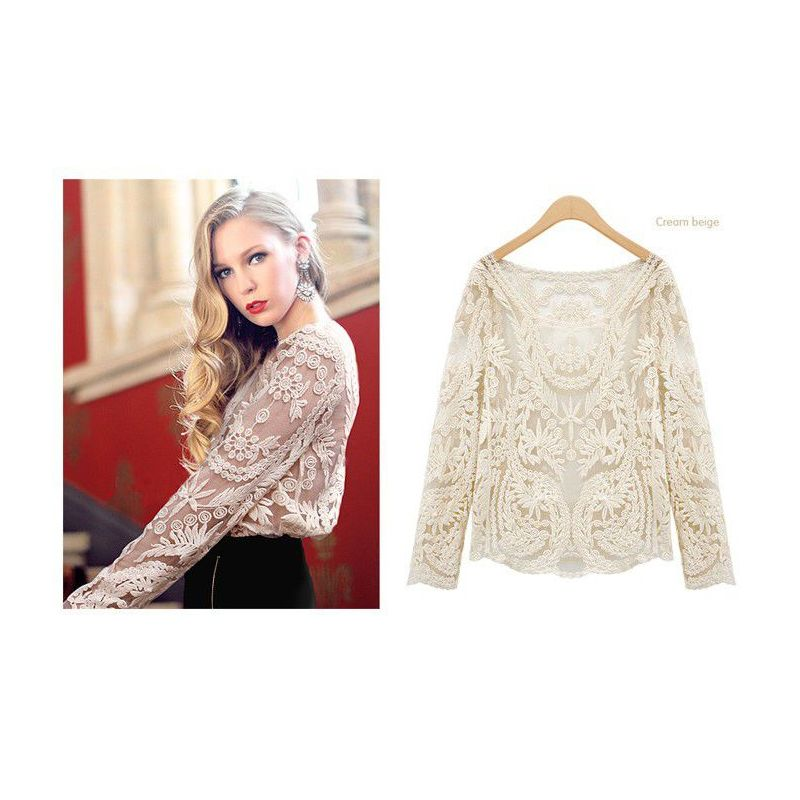 Отзыв на Блузка AliExpress Free Shipping2014 Fashion Women Sheer Embroidery Floral Hollow Lady Lace Crochet Tee long Tops Blouse Plus Size S-XXL