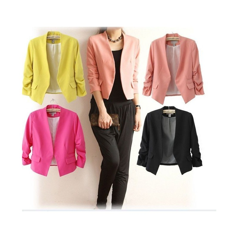 Отзыв на  Пиджак AliExpress New S M L Korea Women Candy Color Solid Slim Fold Sleeve Suit Jacket Blazer Coats