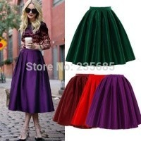 Отзыв на Юбка AliExpress 2014 Summer Spring Fashion Street Snap Celebrity Classic High Waist Bright Flare Pleated Midi Skirt Swing Skirt For Female C7008