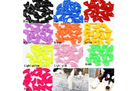 Main 2013 new 20pcs soft nail caps for cat paw pet claws with free super adhesive glue