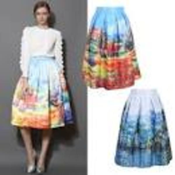 Отзыв на Chic-ing Women's Skirt New Fashion 2015 Summer Vintage Print Ball Gown Pleated Midi Tutu Skater Skirt Saia For Ladies A141028