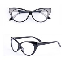 Отзыв на Солнцезащитные очки Aliexpress Designer Cat Eye Glasses Retro Fashion Black Women Glasses Frame Clear Lens Vintage Eyewear