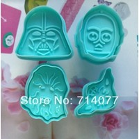 Отзыв на Форма для выпечки AliExpress 4pcs/set Free shipping New 3D Stamp Star Wars Set cake Cookie Cutter Fondant decorating tools 020075