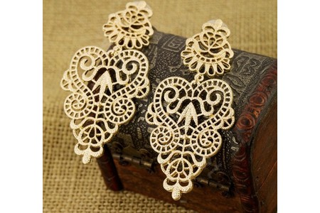 Main unique hollow alloy flower stud earrings gold plated women fashion jewelry l5
