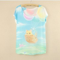 Отзыв на  Футболка AliExpress New 2014 summer And spring Batwing sleeve plus size women t-shirt Love yellow cat printed tees thin loose t shirts women blouse