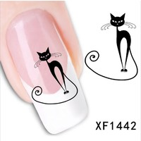 Отзыв на Наклейки для ногтей Aliexpress Hot New Cute Black Cat Nail Sticker Art Water Transfer Slide Decals Sticker Tips DIY Rhinestone Decoration