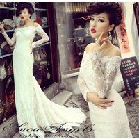 Отзыв на  Свадебное платье Aliexpress Free Shipping 2014 long-sleeve fashion vintage style slit neckline lace fish tail bottom type star long trailing wedding dress