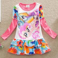 Отзыв на Платье AliExpress Retail!Neat baby&kids spring 2015 fashion My Little Pony printing 100% cotton round neck long sleeve lori girl dress LD668