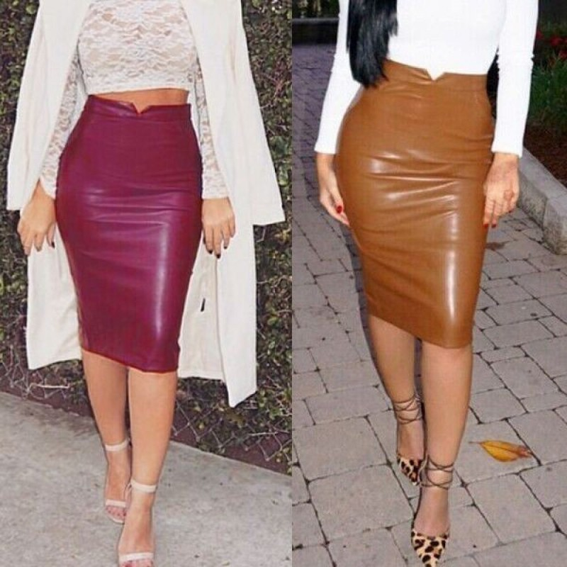 Отзыв на Юбка AliExpress 2015 Sexy Ladies Pu Leather Long Skirt OL Women Slim Hip Knee Length High Waist Straight Career Pencil Skirt Plus Size