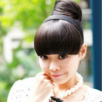 Отзыв на Накладная чёлка Aliexpress LX0028DC Fashion Dark Brown Women Hair wig band Headband Hairpiece Clip-on Bangs Fringe Wigs