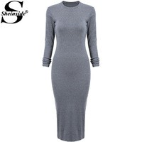 Отзыв на Платье AliExpress Sheinside 2015 Fall Fashion Women Long Sweater Dresses Grey Round Neck Ruched Wrap Front Long Sleeve Skinny Split Pencil