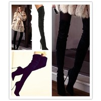 Review 2015 newest winner sexy high heels pumps pointed solid color suede over knee tall font b