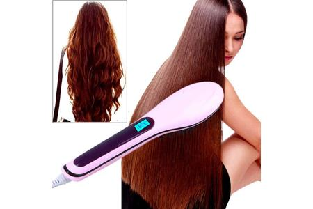 Main professional hair straightener comb brush lcd display electric heating font b iron b font a hair