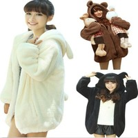 Отзыв на Толстовка AliExpress Women's sweatshirt in a bear girl a winter cardigan fluffy bear hoodie with ears and tail panda warm clothes coat jacket sweatshirt