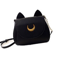 Отзыв на Сумка Aliexpress 2015 Summer Limited Sailor Moon Bag Ladies Handbag Black White Cat Luna Moon Women Messenger Crossbody Bag YA40-67