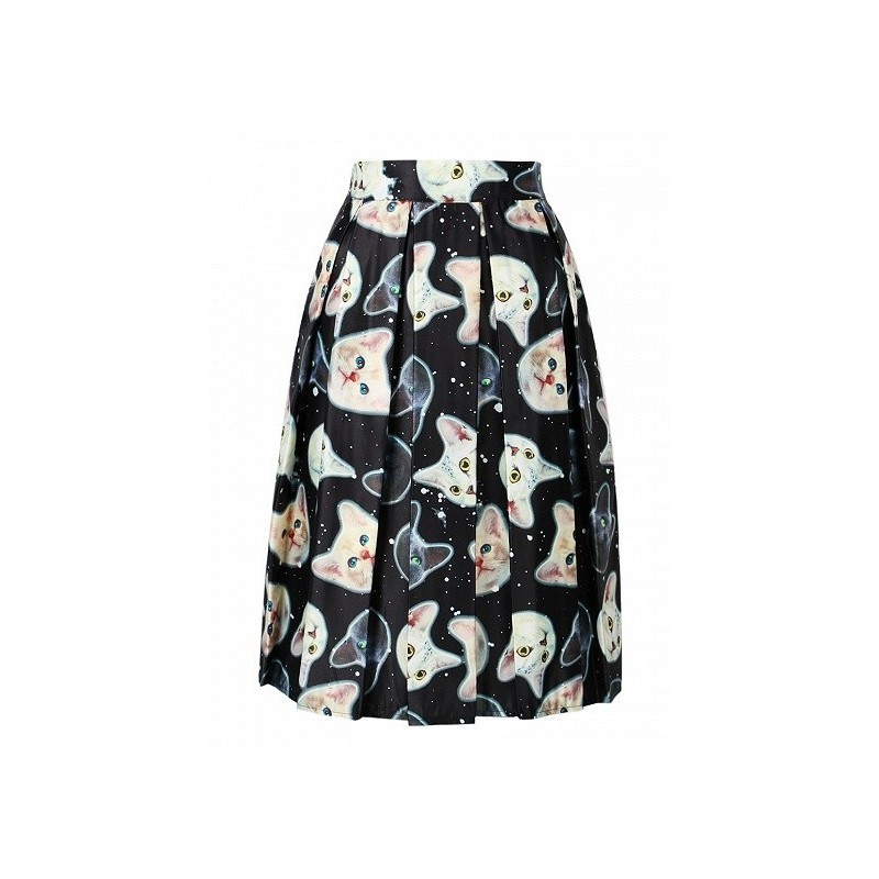 Отзыв на Юбка AliExpress Women High Waist Casual Midi Skater Cute Cat Animal Prints Skirt 3 Colors 2016 Spring Summer Fashion