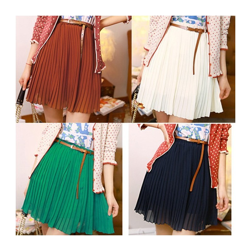 Отзыв на Юбка 2016 Fashion Women Skirts Summer Chiffon High Waist Short Skater Pleated Skirt