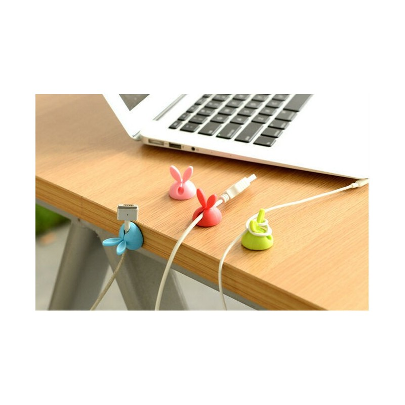 Отзыв на Держатель для проводов Aliexpress Korea silicone cable winder for rabbit ears with fixed-line desktop glue wire retainer