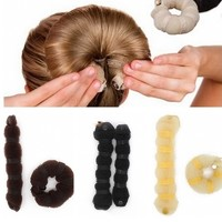 Отзыв на Аксессуары для волос Aliexpress New Fashion 2pcs Sponge Hair Styling Donut Bun Maker Chrismas Magic easy using Former Ring Shaper Styler Tool 3 colors L04189