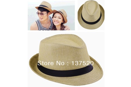 Main 2013 new khaki womens mens unisex fedora trilby gangster cap summer beach sun straw panama hat