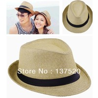 Review 2013 new khaki womens mens unisex fedora trilby gangster cap summer beach sun straw panama hat