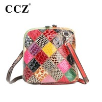 Отзыв на Сумка Aliexpress CCZ Fashion Women's Colorful Genuine Leather Shoulder Bags Snakeskin Women Messenger Bag 2015 Brand Small Crossbody Bags SL011F