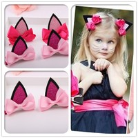 Review the new 2015 children hair accessories of the baby cat ear hair clips
