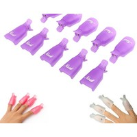 Отзыв на Зажим-клипса для снятия гель-лака Aliexpress Selljimshop New 10PC Plastic Nail Art Soak Off Cap Clip UV Gel Polish Remover Wrap Tool