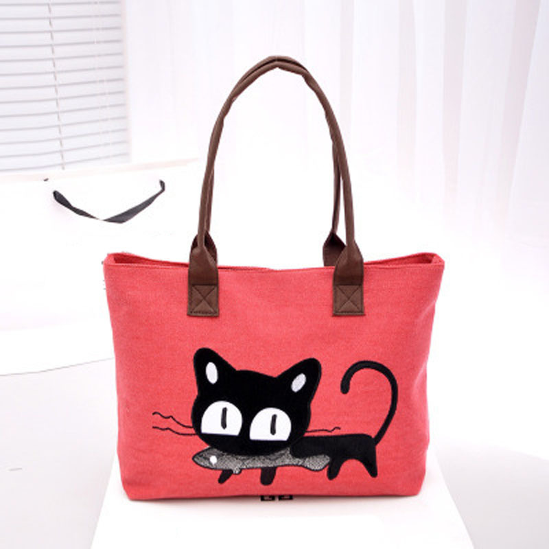Отзыв на Сумка Aliexpress Women Handbag shoulder Casual Women Bag Woven Canvas Bag Cute Cat Shopping Bag Office Lady Lunch Bag