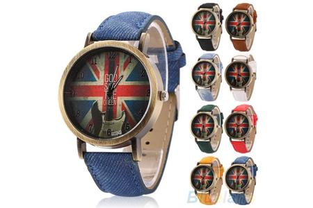 Main mens womens vintage bronze denim uk flag guitar analog quartz dress wrist watch 1px1 0 0
