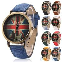 Review mens womens vintage bronze denim uk flag guitar analog quartz dress wrist watch 1px1 0 0