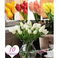 Отзыв на Тюльпаны Aliexpress Free shipping 31PCS/LOT pu mini tulip flower real touch wedding artificial silk home decoration