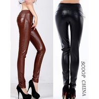 Отзыв на Брюки кожаные AliExpress Autumn Fashion Casual Long Pencil Pant Black Skinny Trousers High Waist PU Leather Women