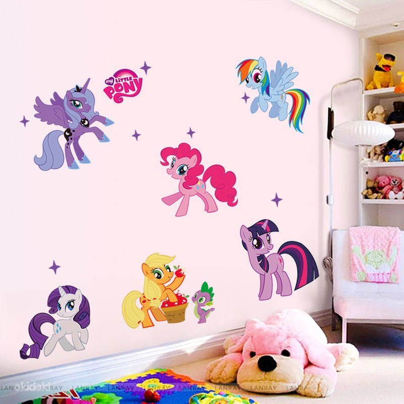 Отзыв на Aliexpress New arrival Kid Wall Stickers My Little Pony 6 ponies removal girls sticker for kids 1425factory sales directly