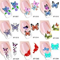 Отзыв на Наклейки для ногтей Aliexpress Наклейки-слайдеры sheets water transfer DIY decals, Purple flowers watermark nail sticker tattoo decoration tools for Polish