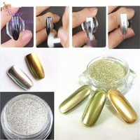 Review 1g box new gold sliver 2 colors mirror glitter powder for nails shinning dust nail art