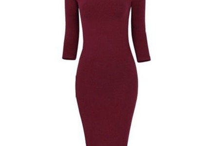Отзыв на Платье AliExpress 2016 Cotton Long Sleeve Knee Length Midi Dress Slim Bodycon Bandage Autumn Black Wine Red Women Dresses Bandage Q0001