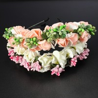 Отзыв на Ободок для волос Aliexpress Festival Wedding Bridal Flower Boho Floral Headbands Headband Garland Hairband Pink White Color