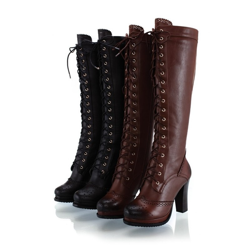 Отзыв на  Hot Free Shipping Women Genuine Leather Lace-up Retro Accient Boot Thick Heel Martin Long Boots, Knee booti