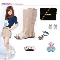 Отзыв на Сапоги женские Aliexpress Летние 2013 spring and summer women's boots shoes ,peep toes boots , fashion cut-outs boots f