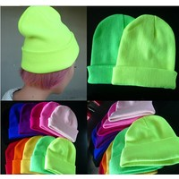 Отзыв на шапка Aliexpress men and women of fluorescent color line cap hat knitted cap GD hip-hop MaoXianMao set of head cap