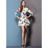 Отзыв на Платье AliExpress New 2014 spring and summer   fashion multicolor print ruffle one-piece dress