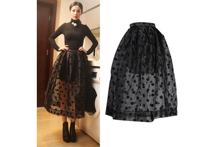 Main free shipping 2014 fashion hight waist sheer organza black polka dots ball gown midi skirt women