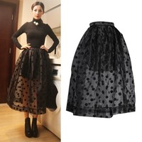Отзыв на Юбка AliExpress Free Shipping 2014 Fashion Hight Waist Sheer Organza Black Polka Dots Ball Gown Midi Skirt Women's Mid-