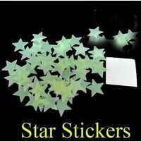 Review free shipping 100x home wall glow in the dark star stickers decal baby kids gift nursery