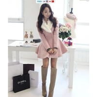 Отзыв на Пальто AliExpress Free shipping 2013 Women winter coat wool pink, yellow, green fashion coat